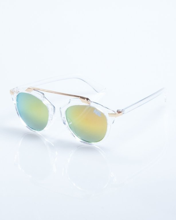 OKULARY BAD CLEAR-GOLD YELLOW MIRROR 813