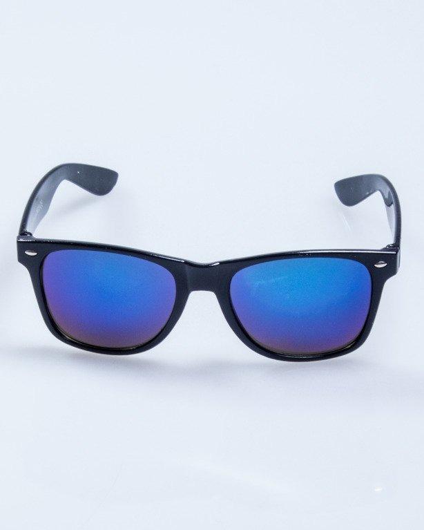 OKULARY CLASSIC BLACK FLASH BLUE MIRROR 564