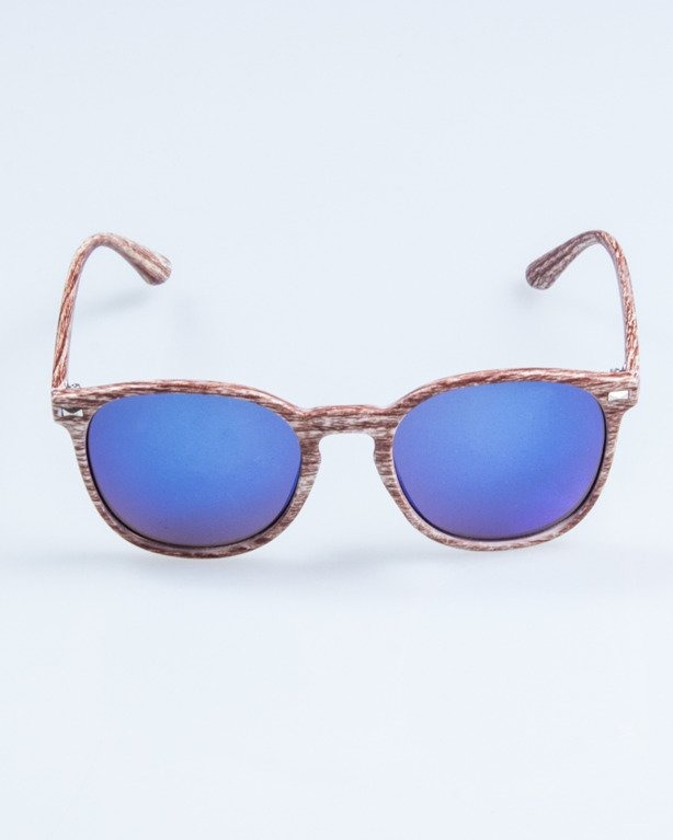 OKULARY WOODY BROWN1 BLUE MIRROR 709