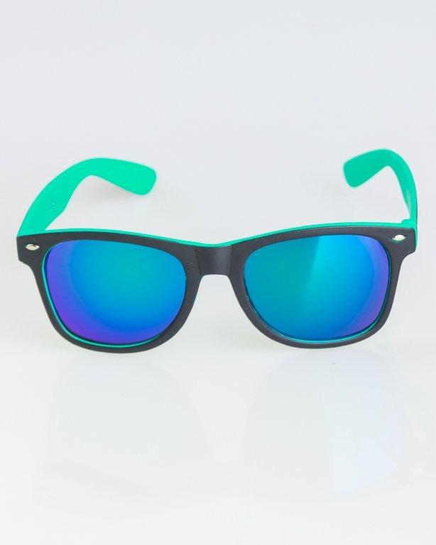 OKKULARY CLASSIC INSIDE BLACK-MINT MAT BLUE MIRROR 1272