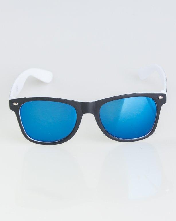 OKKULARY CLASSIC INSIDE BLACK-WHITE MAT BLUE MIRROR 1277