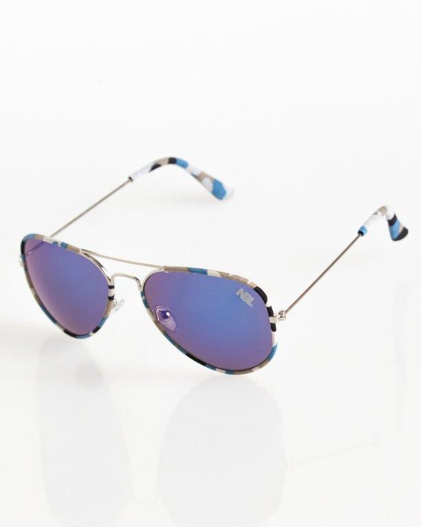 OKULARY AVIATOR CAMO SILVER-BLUE MIRROR NAVY MIRROR 052