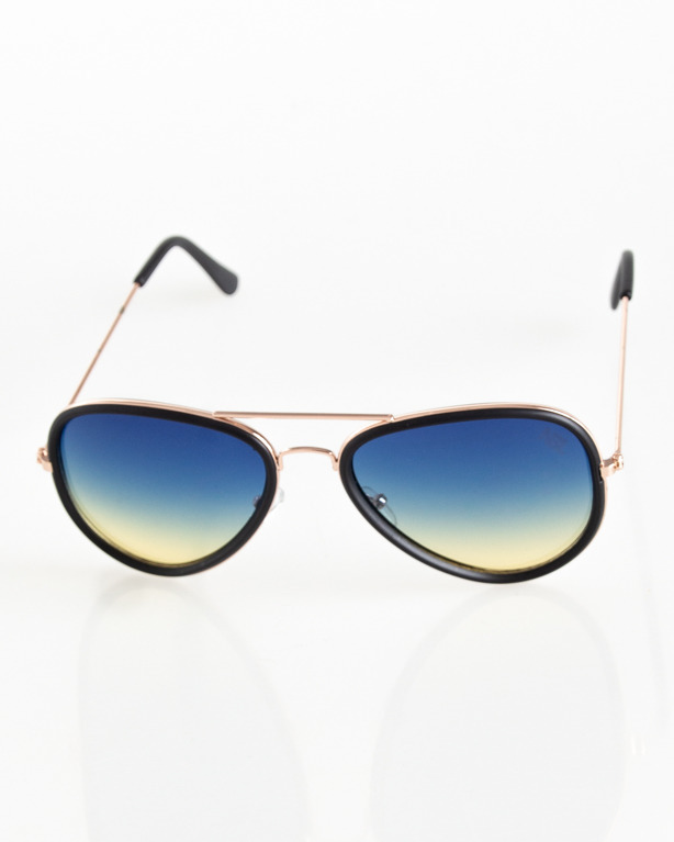 OKULARY AVIATOR GOLD-BLACK MAT BLUE-YELL TONAL 060