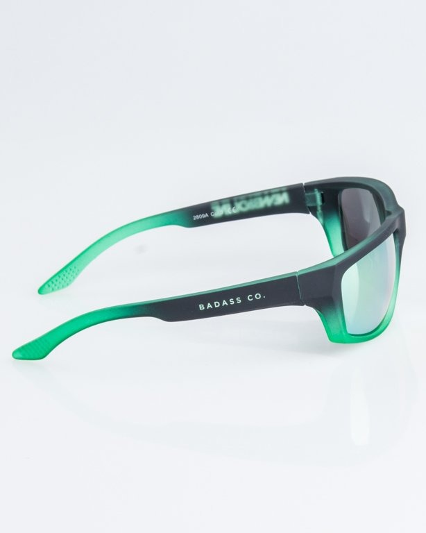 OKULARY BIKER SPORT BLACK-GREEN RUBBER YELLOW MIRROR 1245