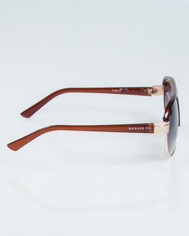 OKULARY BUCKLE GOLD-BROWN METAL FLASH HALF GREY 1181