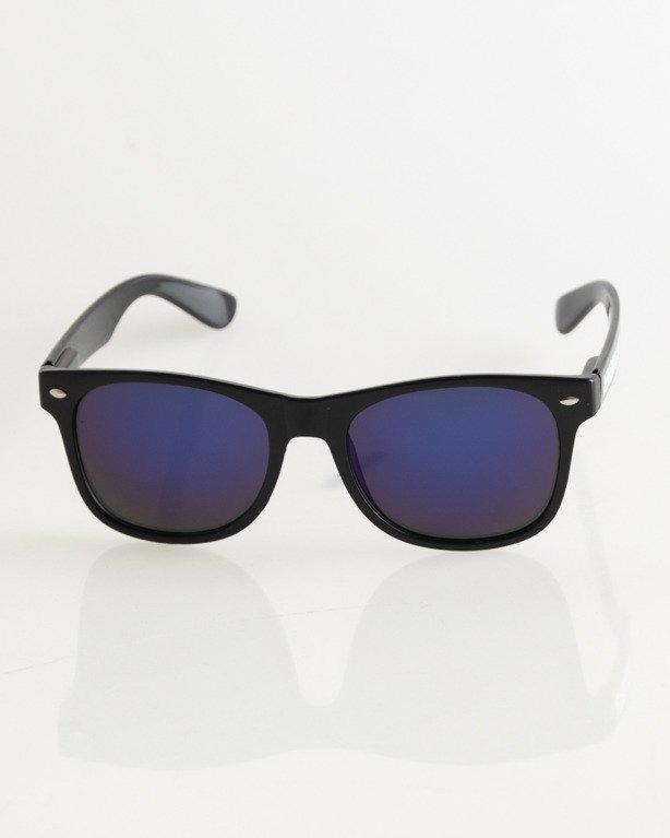 OKULARY CLASSIC BLACK FLASH BLUE MIRROR 016