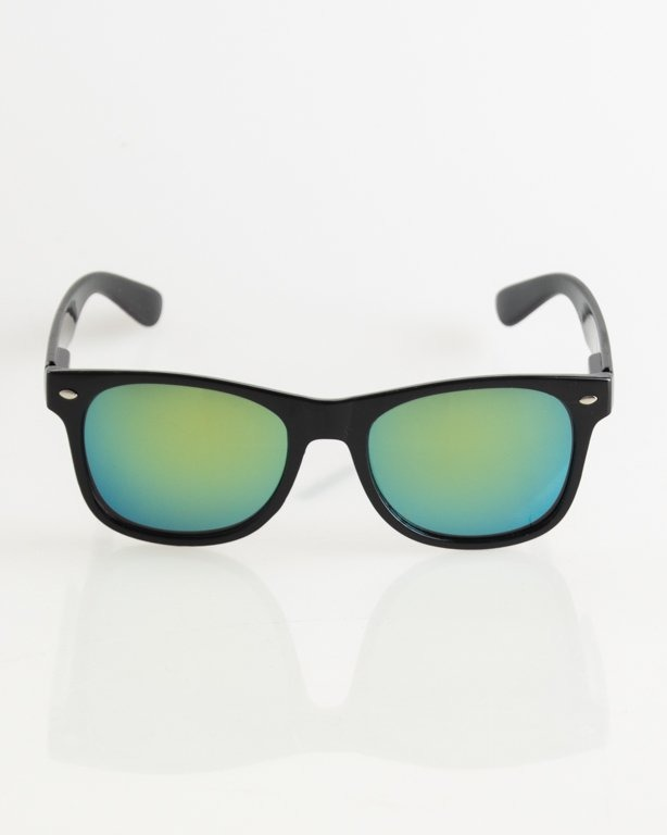 OKULARY CLASSIC BLACK FLASH YELLOW MIRROR 007