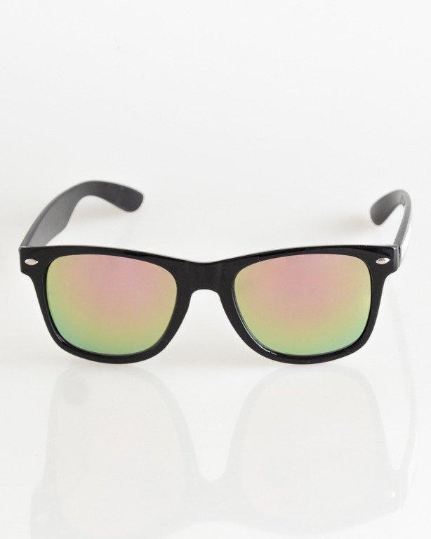 OKULARY CLASSIC BLACK FLASH YELLOW-PINK MIRROR 030