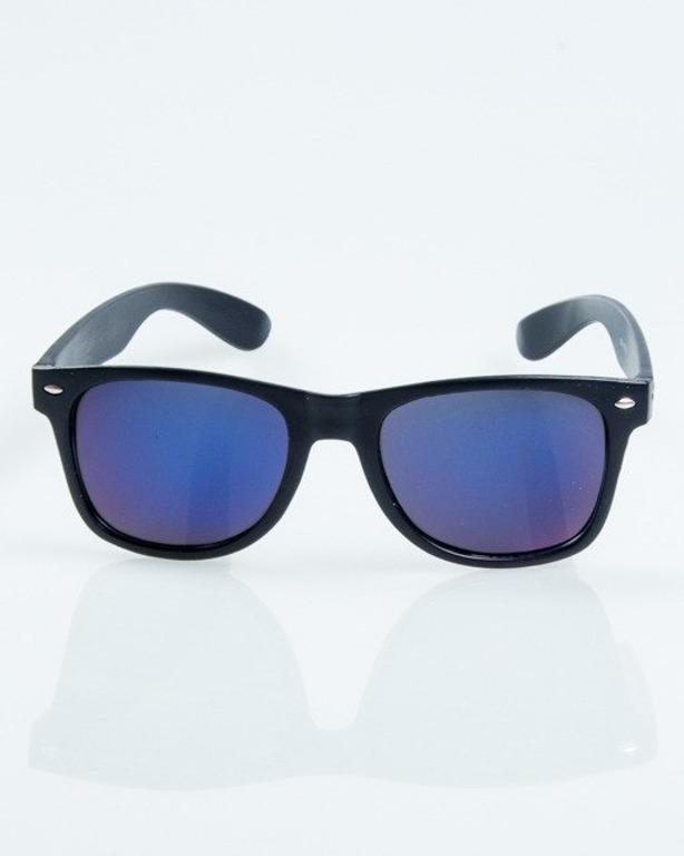 OKULARY CLASSIC BLACK MAT BLUE MIRROR 1035