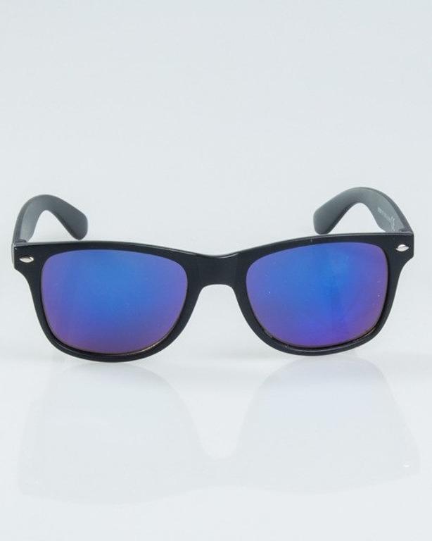 OKULARY CLASSIC BLACK MAT BLUE MIRROR 1159