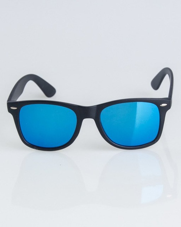 OKULARY CLASSIC BLACK MAT BLUE MIRROR 1306