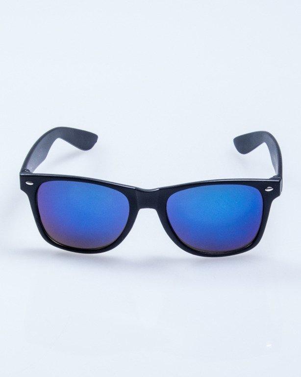 OKULARY CLASSIC BLACK MAT BLUE MIRROR 504