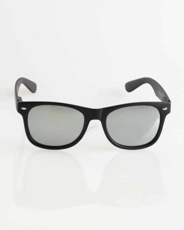 OKULARY CLASSIC BLACK MAT SILVER MIRROR 011