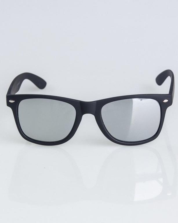 OKULARY CLASSIC BLACK RUBBER SILVER MIRROR 1308
