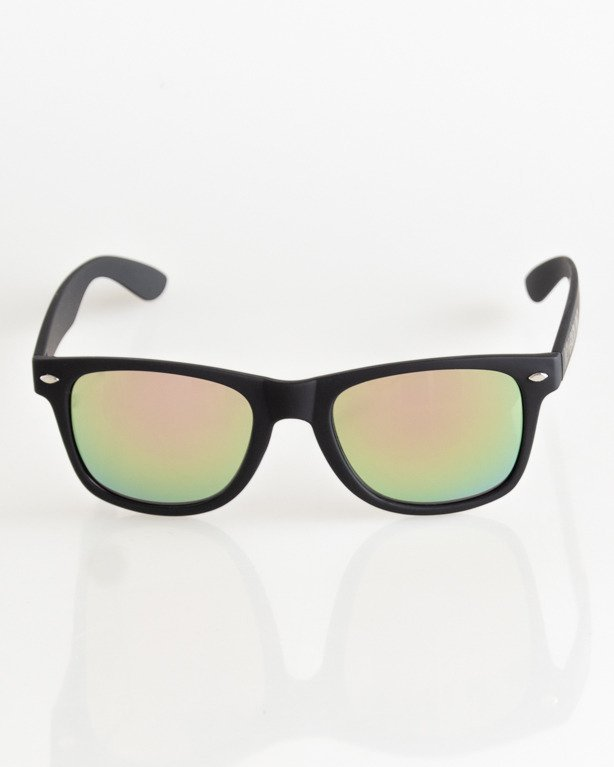 OKULARY CLASSIC BLACK RUBBER YELLOW-PINK MIRROR 040