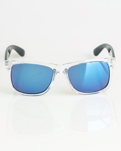 OKULARY CLASSIC CLEAR-BLACK FLASH BLUE MIRROR 1386