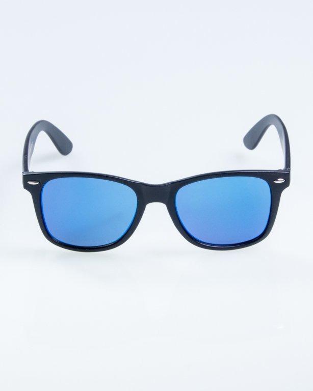OKULARY CLASSIC FLAT BLACK MAT BLUE MIRROR 883