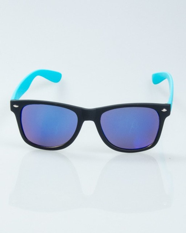 OKULARY CLASSIC HALF BLACK-BLUE RUBBER  BLUE MIRROR 1014