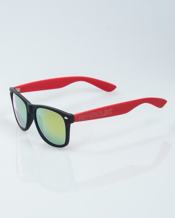 OKULARY CLASSIC HALF BLACK-RED RUBBER RED MIRROR 1012