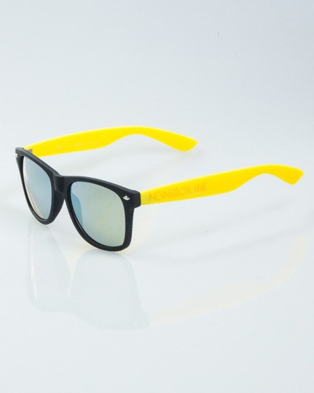 OKULARY CLASSIC HALF BLACK-YELLOW RUBBER YELLOW MIRROR 1013