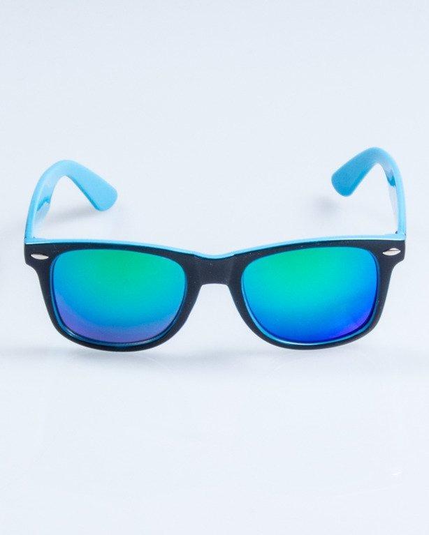 OKULARY CLASSIC INSIDE BLACK-BLUE FLASH GREEN MIRROR 750
