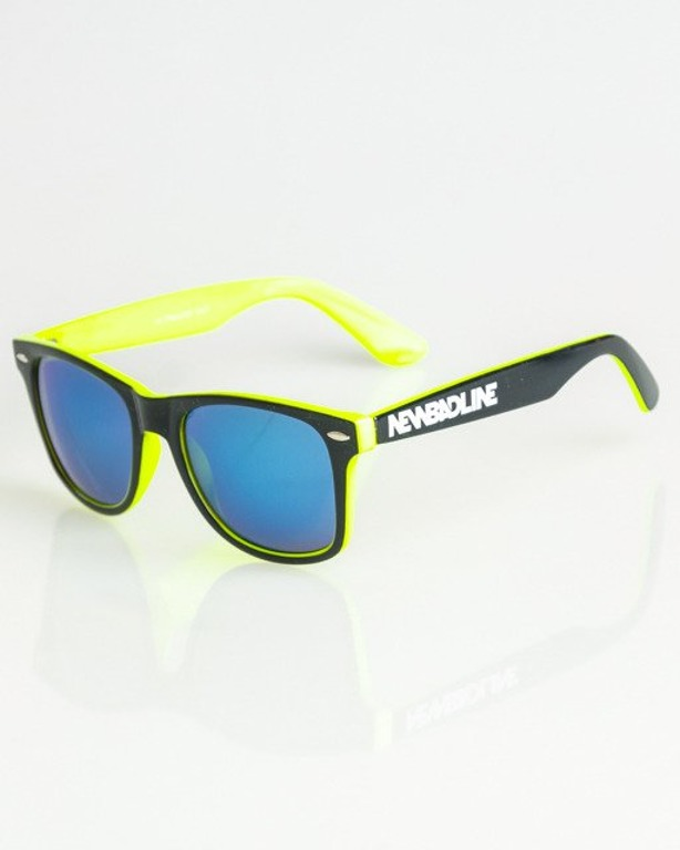 OKULARY CLASSIC INSIDE BLACK-NEON YELLOW FLASH BLUE MIRROR 1368