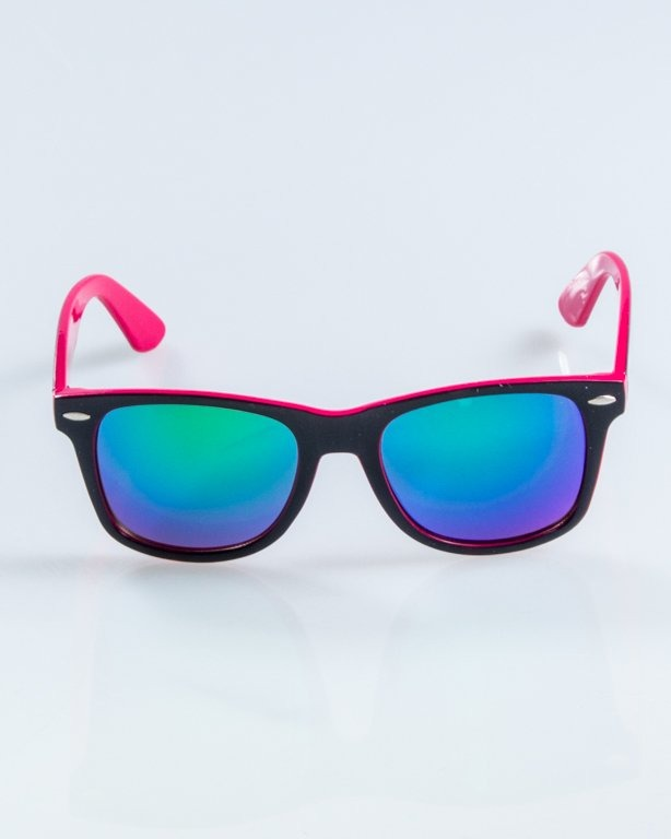 OKULARY CLASSIC INSIDE BLACK-PINK FLASH GREEN MIRROR 894