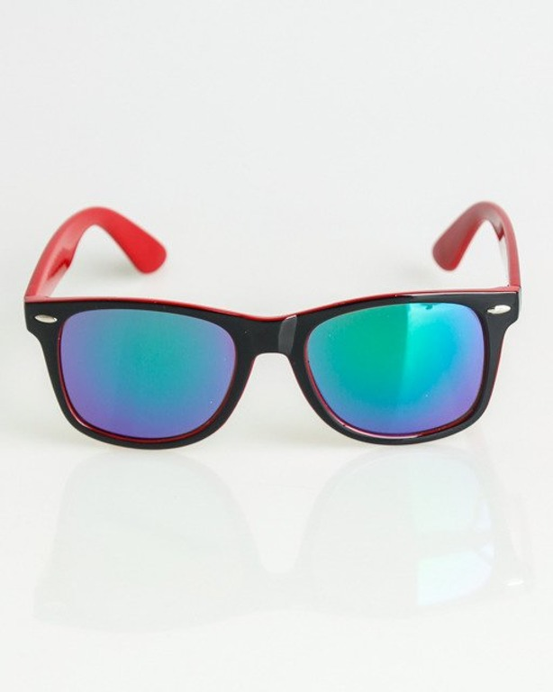 OKULARY CLASSIC INSIDE BLACK-RED FLASH GREEN MIRROR 1360