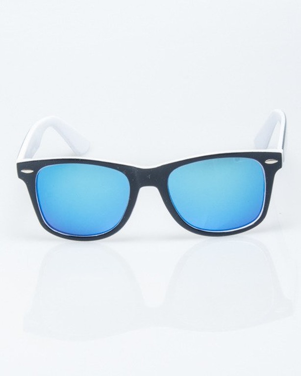 OKULARY CLASSIC INSIDE BLACK-WHITE FLASH BLUE MIRROR 1211