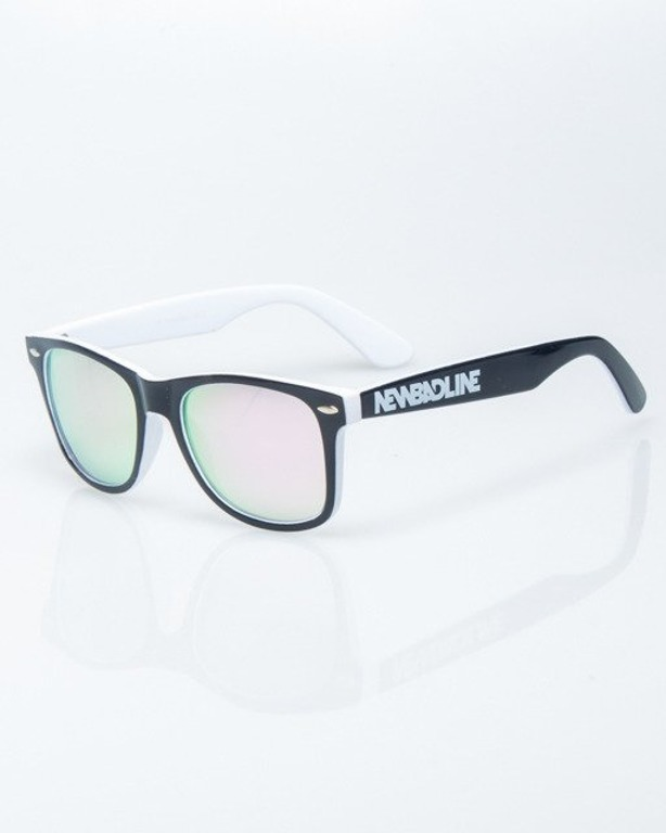 OKULARY CLASSIC INSIDE BLACK-WHITE FLASH PINK MIRROR 1207