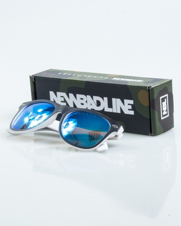 OKULARY CLASSIC INSIDE BLACK-WHITE MAT BLUE MIRROR POLARIZED 1026