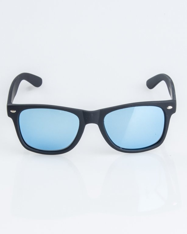 OKULARY CLASSIC POLARIZED BLACK RUBBER  BLUE MIRROR 1258