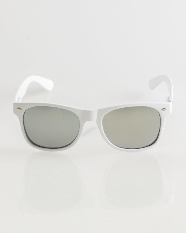 OKULARY CLASSIC WHITE MAT SILVER MIRROR 013