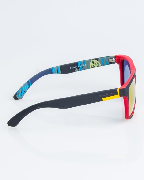 OKULARY COMIX POLARIZED BLACK-RED RUBBER RED MIRROR 1261