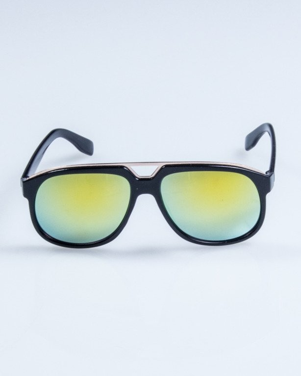 OKULARY ELEGANT BLACK FLASH YELLOW MIRROR 667