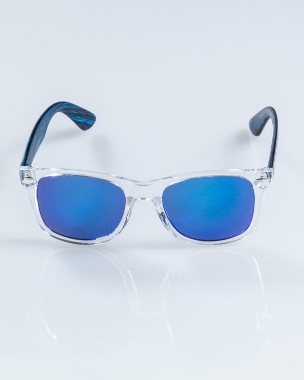 OKULARY HALF WOOD CLEAR-WOOD BLUE BLUE MIRROR 899