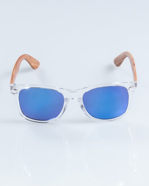 OKULARY HALF WOOD CLEAR-WOOD BROWN PANEL BLUE MIRROR 902