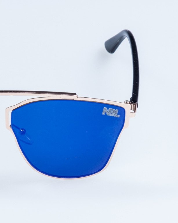 OKULARY LADY FUTURE GOLD BLUE MIRROR 718