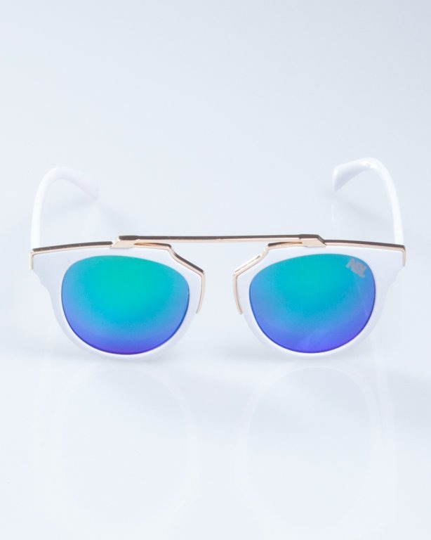 OKULARY LADY ROSH WHITE-GOLD GREEN MIRROR 933