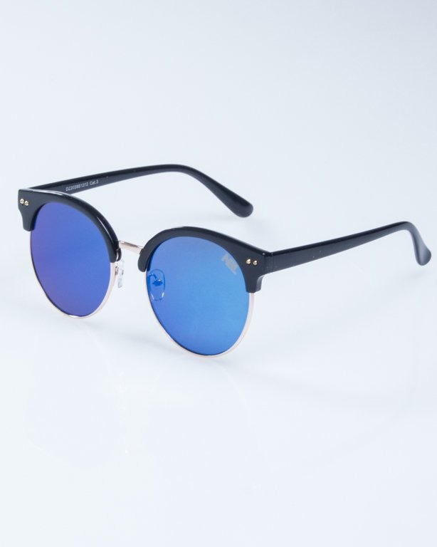 OKULARY LADY WILD BLACK BLUE MIRROR 940