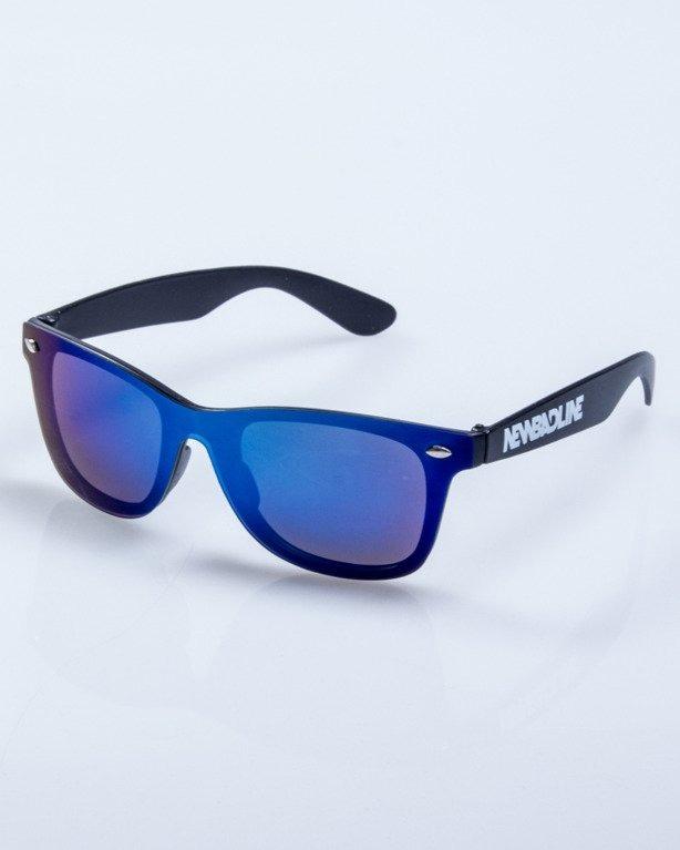 OKULARY ONE GLASS BLACK MAT BLUE MIRROR 517