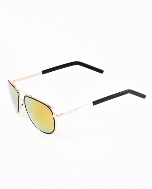 OKULARY OUTLINE METAL GOLD-BLACK RED MIRROR 20-36
