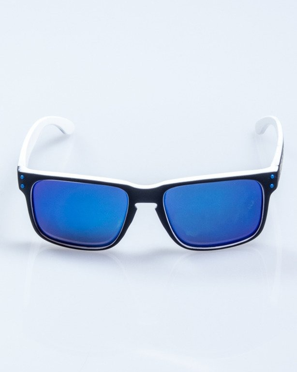 OKULARY POINT BLACK-WHITE RUBBER BLUE MIRROR POLARIZED 524