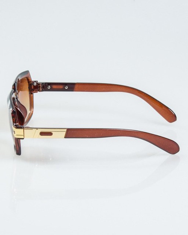 OKULARY RICH BROWN-GOLD METAL HLAF BROWN 1125