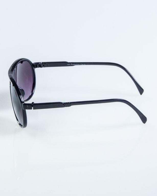 OKULARY ROUND BLACK-WHITE BLACK 917