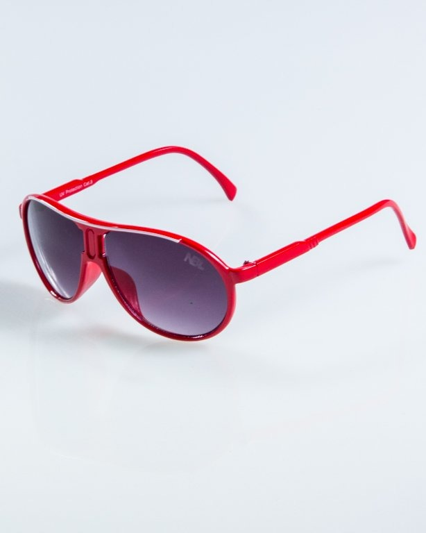 OKULARY ROUND RED BLACK 912