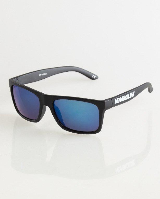 OKULARY SLIM BLACK MAT BLUE MIRROR 026