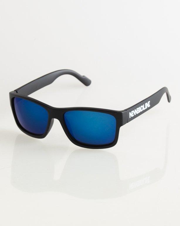 OKULARY TECHNO BLACK MAT BLUE MIRROR 019
