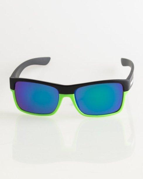 OKULARY TWO TONE BLACK-GREEN MAT BLUE MIRROR 021